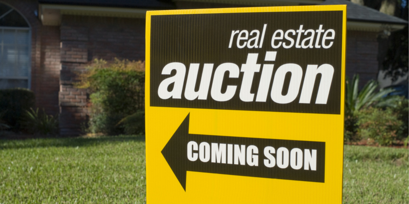 Foreclosed homes are often sold through an auction process